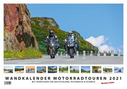 Foto-Wandkalender Motorradtouren 2021 DIN A2 quer mit Feiertagen für Deutschland, Östereich und die Schweiz – Mit Platz für Notizen