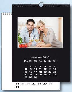Fotokalender und Bastelkalender 2018 schwarz weiss matt für Bilder 13×18 cm Hoch und Quer.