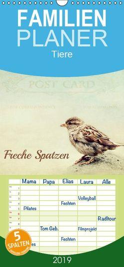 Freche Spatzen – Familienplaner hoch (Wandkalender 2019 , 21 cm x 45 cm, hoch) von Hultsch,  Heike
