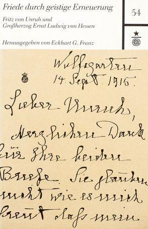 Friede durch geistige Erneuerung von Franz,  Eckhart G