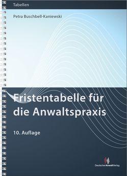 Fristentabelle für die Anwaltspraxis von Buschbell-Kaniewski,  Petra