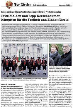 Fritz Molden und Sepp Kerschbaumer kämpften für die Freiheit und Einheit Tirols  Fritz Molden zum Gedenken von Gamper,  Herbert, Hartung,  Erhard, Lang,  Roland
