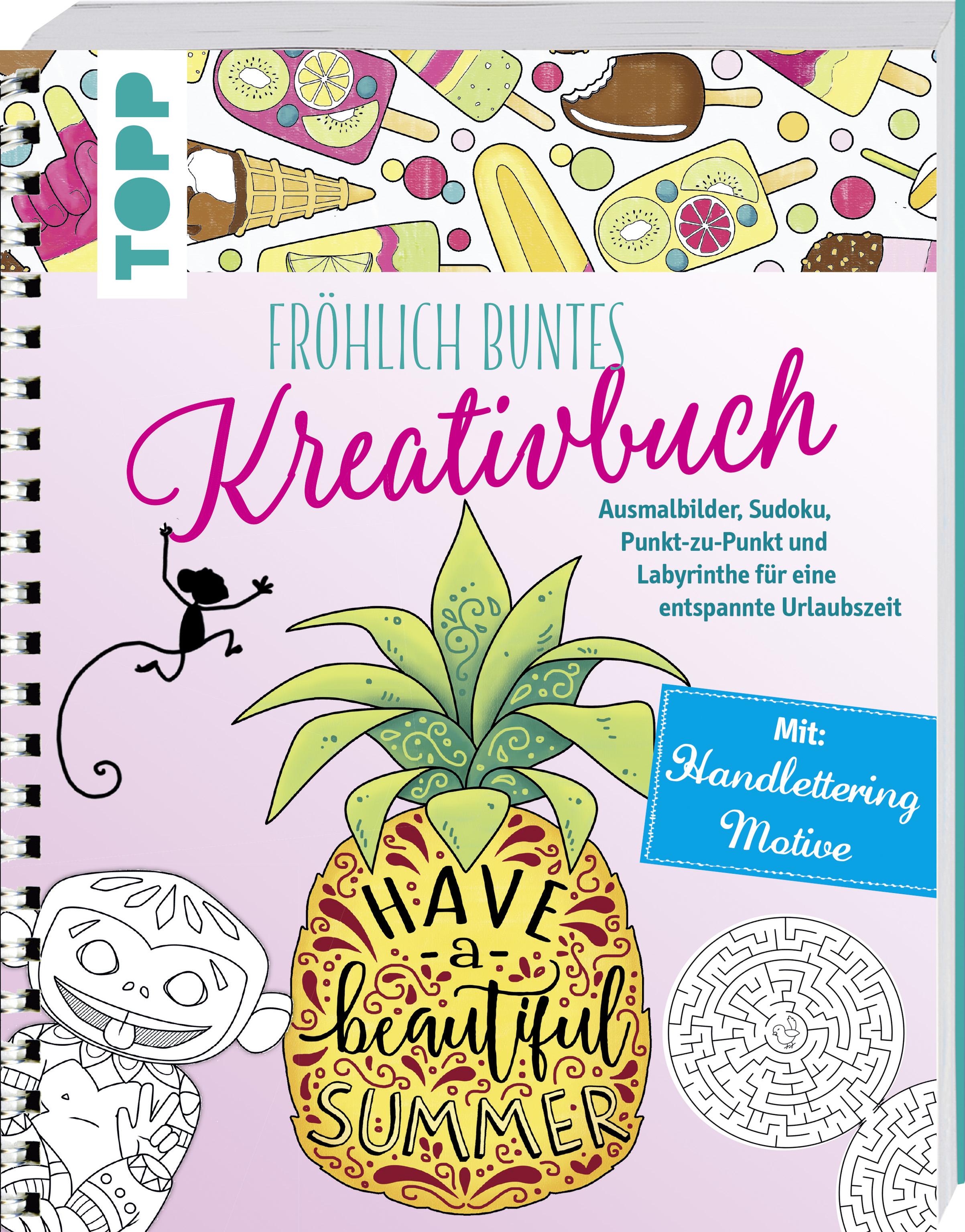 Fröhlich buntes Kreativbuch von Pitz, Natascha: Ausmalbilder, Sudoku,