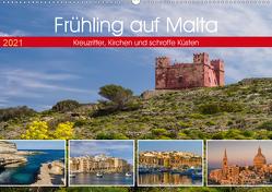 Frühling auf Malta – Kreuzritter, Kirchen und schroffe Küsten (Wandkalender 2021 DIN A2 quer) von Caccia,  Enrico