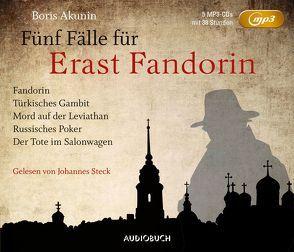 Fünf Fälle für Erast Fandorin (5 MP3-CDs) von Akunin,  Boris, Ernst,  Michael Andreas, Steck,  Johannes
