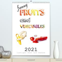 funny FRUITS and VEGETABLES – lustiges Obst und Gemüse (Premium, hochwertiger DIN A2 Wandkalender 2021, Kunstdruck in Hochglanz) von Boom,  Daniel