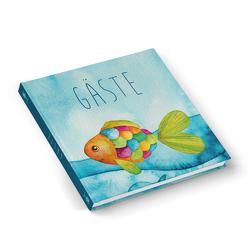 Gästebuch BUNTER FISCH maritim blau türkis (Hardcover 21,5 x 21,5 cm, Blankoseiten)