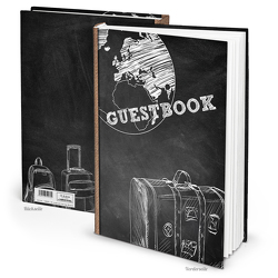 """Gästebuch """"GUESTS Koffer"""" schwarz weiß (Hardcover A4, Blankoseiten)"""