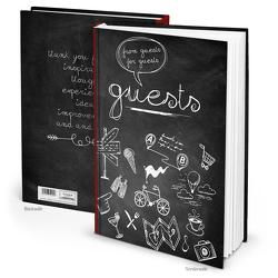 """Gästebuch """"GUESTS Tafelkreide"""" schwarz weiß (Hardcover A4, Blankoseiten)"""