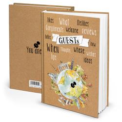 "Gästebuch ""GUESTS Weltkugel"" Kraftpapier (Hardcover A4, Blankoseiten)"