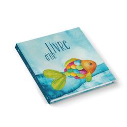 """Gästebuch """"LIVRE D'OR bunter Fisch"""" französisch türkis (Hardcover 21×21 cm, Blankoseiten)"""