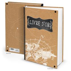 """Gästebuch """"Livre d'or KOMPASS"""" französisch braun schwarz weiß (Hardcover A4, Blankoseiten)"""