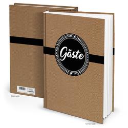 """Gästebuch """"Vintage"""" braun schwarz weiß (Hardcover A4, Blankoseiten)"""
