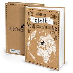 """Gästebuch """"Weltkugel"""" Kraftpapier schwarz weiß (Hardcover A4, Blankobuch)"""