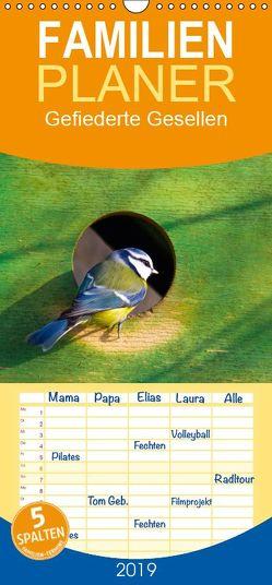 Gefiederte Gesellen – Familienplaner hoch (Wandkalender 2019 , 21 cm x 45 cm, hoch) von Di Chito,  Ursula