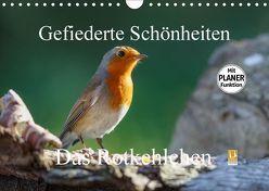 Gefiederte Schönheiten – Das Rotkehlchen / Planer (Wandkalender 2018 DIN A4 quer) von Poetsch,  Rolf