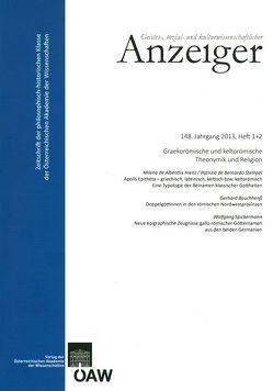 Geistes, sozial- und kulturwissenschaftlicher Anzeiger 148. Jahrgang 2013, Heft 1+2