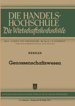 Genossenschaftswesen von Henzler,  Reinhold