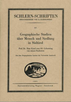 Geographische Studien über Mensch und Siedlung in Südtirol von Haberl,  Wolfgang