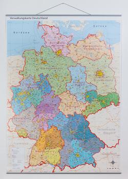 politische Verwaltungskarte Deutschland mit Regierungsbezirken und Metallleisten