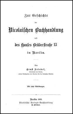 Gesammelte Werke Ergänzungsbände von Nicolai,  Friedrich