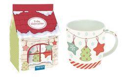 Geschenk-Tasse aus Porzellan Vintage-Weihnachten in hochwertiger Geschenkverpackung