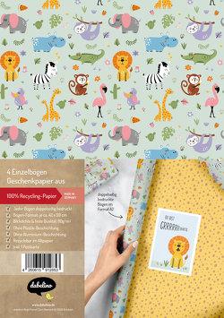 Geschenkpapier-Set für Kinder: Dschungel / Safari Tiere / Zoo