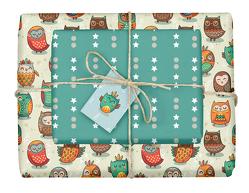 Geschenkpapier-Set für Kinder: Eulen
