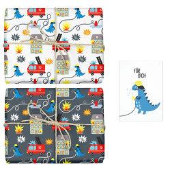 Geschenkpapier-Set für Kinder: Feuerwehr/ Dinosaurier