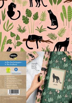 Geschenkpapier-Set: Panther (vegan, Blauer Engel, Recyclingpapier)