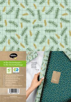 Geschenkpapier Set Weihnachten für Erwachsene: Tannenzweige, kariert (modern, edel, grün)