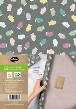 Geschenkpapier Set Weihnachten: Handschuhe (bunt, lila) für Kinder und Erwachsene