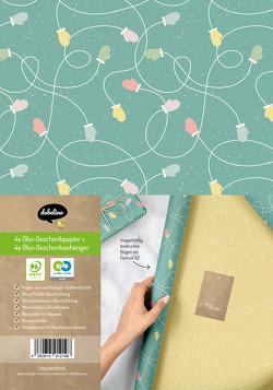 Geschenkpapier Set Weihnachten: Handschuhe (grün, gelb) für Kinder und Erwachsene