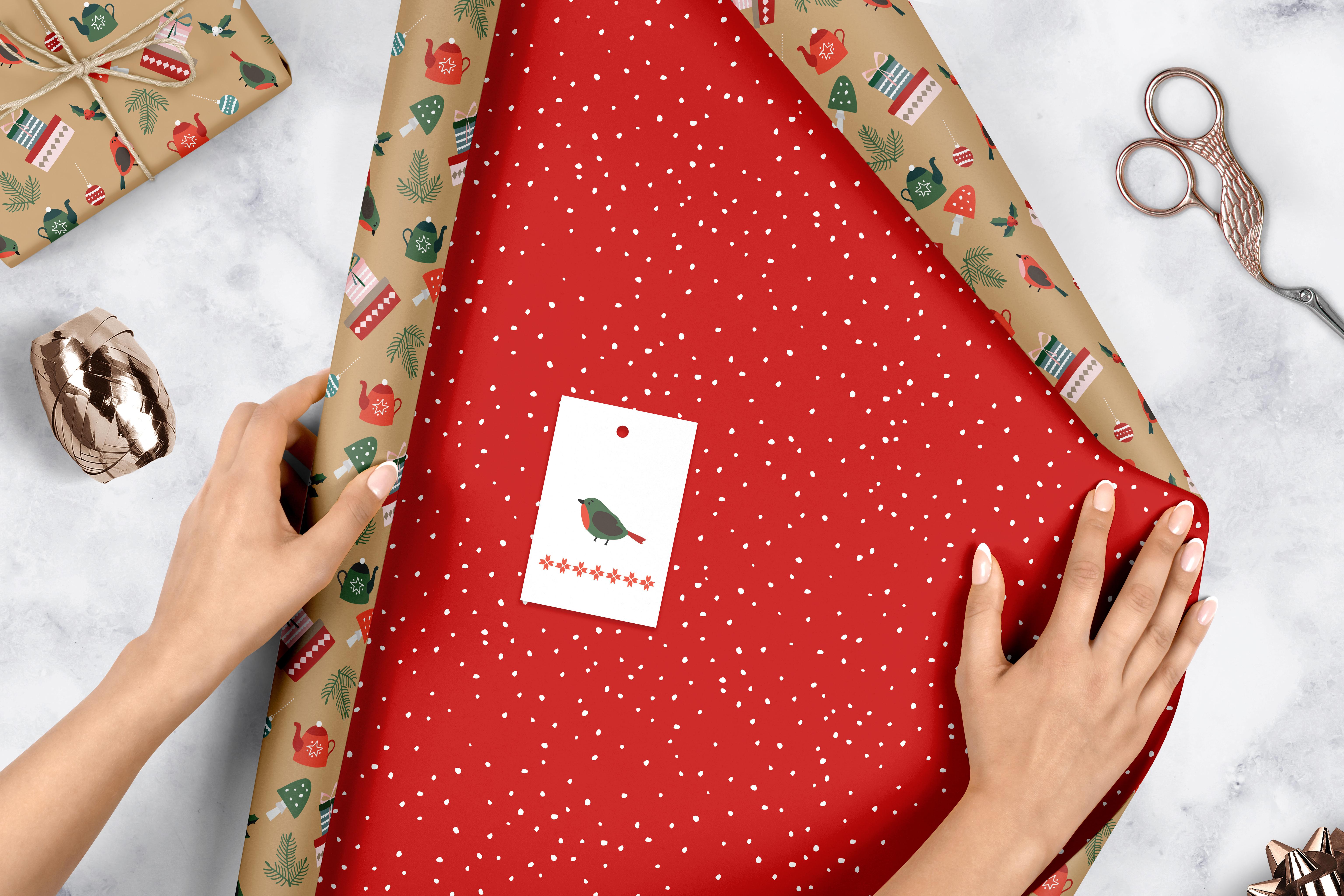 Geschenkpapier Weihnachten.Geschenkpapier Set Weihnachten Modernes Ornamente Muster Von 4x Dop