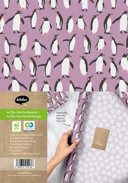 Geschenkpapier Set Weihnachten: Pinguine (lila, weiß) für Kinder