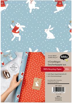 Geschenkpapier Set Weihnachten: Schneehase (für Kinder)