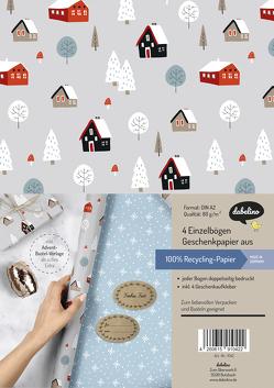 Geschenkpapier Set Weihnachten: Skandinavische Winterlandschaft
