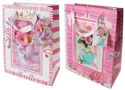 Geschenktasche / Geschenktüte medium 3D-Bild Blumenstrauß Hochzeit / Geburtstag / Jubiläum