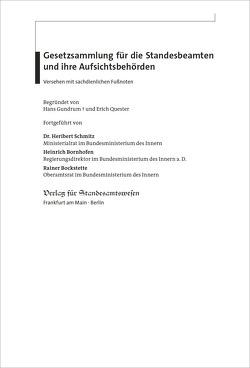 Gesetzsammlung für die Standesbeamten und ihre Aufsichtsbehörden von Bockstette,  Rainer, Bornhofen,  Heinrich, Schmitz,  Heribert