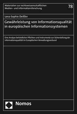 Gewährleistung von Informationsqualität in europäischen Informationssystemen von Deißler,  Lena-Sophie