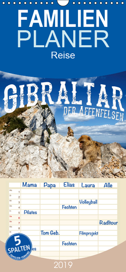 Gibraltar – der Affenfelsen – Familienplaner hoch (Wandkalender 2019 , 21 cm x 45 cm, hoch) von Buchspies,  Carina