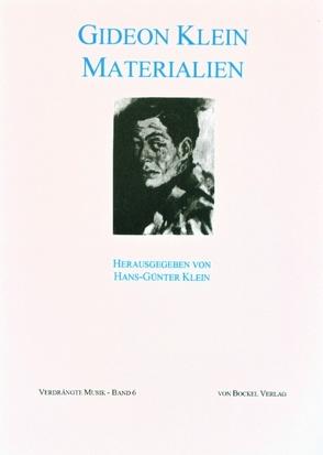 Gideon Klein – Materialien von Klein,  Gideon, Klein,  Hans G, Slavicky,  Milan