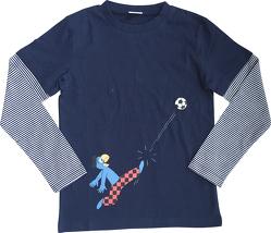 Globi T-Shirt langarm dunkelblau Fussballer 110/116