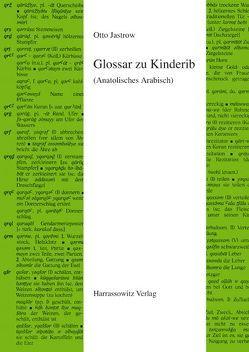 Glossar zu Kinderib (Anatolisches Arabisch) von Jastrow,  Otto