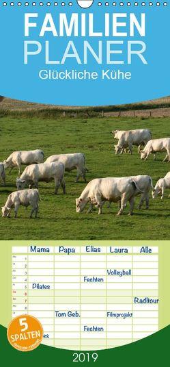Glückliche Kühe – Familienplaner hoch (Wandkalender 2019 , 21 cm x 45 cm, hoch) von Lindert-Rottke,  Antje