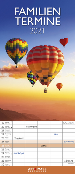 Glücksmomente 2021 A&I Familienplaner – Familienkalender – Wandkalender – 19,5×45