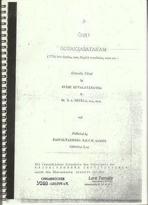 Goraksa Shatakam von Goraknath, Tomalla,  Lore