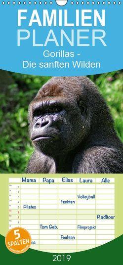 Gorillas – Die sanften Wilden – Familienplaner hoch (Wandkalender 2019 , 21 cm x 45 cm, hoch) von Hebgen,  Peter