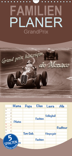 Grand Prix historique de Monaco – Familienplaner hoch (Wandkalender 2019 , 21 cm x 45 cm, hoch) von Bau,  Stefan