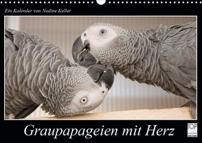 Graupapageien mit Herz (Wandkalender 2021 DIN A3 quer) von Keller,  Nadine